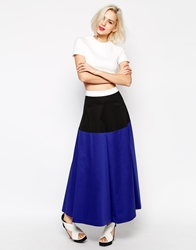 Love Moschino Color Block Maxi Skirt Blue