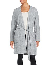 Set Belted Waist Long Sleeve Sweater Grey