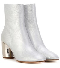 Proenza Schouler Metallic Leather Ankle Boots Silver