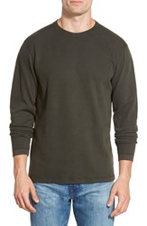 Men's Agave 'Silas' Long Sleeve Ribbed Crewneck T Shirt Rosin Green