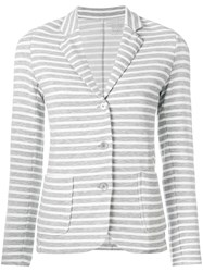 Majestic Filatures Striped Fitted Blazer Grey