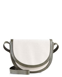Jaeger Leather Canvas Cross Body Bag White