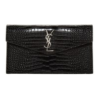 Saint Laurent Black Croc Uptown Pouch