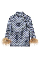 Prada Feather Trimmed Printed Crepe De Chine Top Blue