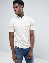 Selected Homme Polo Shirt With Stripe And Long Placket Detail And Curved Hem Silver Filigree Cream