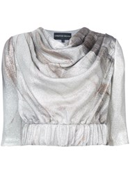 Christian Siriano Cropped Sleeves Blouse Silk Polyamide Metallic