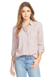Petite Women's Caslon Long Sleeve Cotton Shirt Ivory Blue Mini Plaid