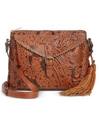 Patricia Nash Burnished Tooled Lace Avellino Crossbody Tooled Rust