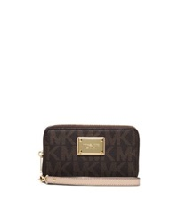 Michael Kors Jet Set Large Logo Phone Wristlet Brown