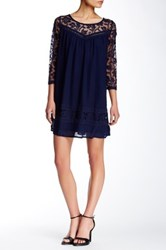 Soieblu 3 4 Length Sleeve Lace Trim Dress Blue