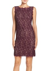 Adrianna Papell Women's Boatneck Lace Sheath Dress Mulbry Nude