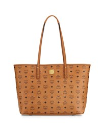Mcm Anya Md Top Zip Shopper Cognac
