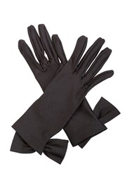 Cornelia James Viola Satin Gloves Black