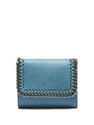 Stella Mccartney Falabella Faux Suede Wallet Turquoise