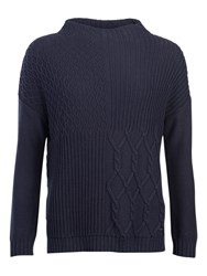 Barbour Block Texture Jumper Navy