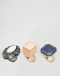 Asos Pack Of 3 Statement Chunky Stone Ring Multi