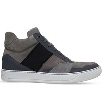 Lanvin Ribbon Suede High Top Trainers Grey