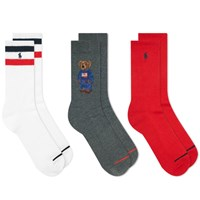 Polo Ralph Lauren Bear Sport Sock 3 Pack Multi