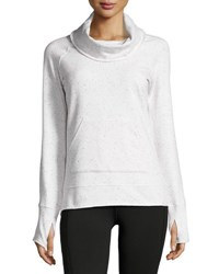 Marc New York Funnel Neck Speckled Sweatshirt White