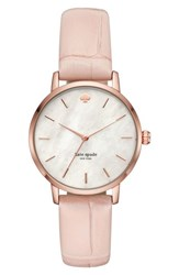 Kate Spade Space New York Metro Leather Strap Watch 34Mm Pink Mop Pink