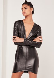 Missguided Faux Leather Long Sleeve Plunge Bodycon Dress Black
