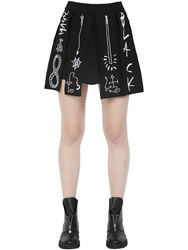 Rolling Acid Pleated And Embroidered Cady Stretch Skirt