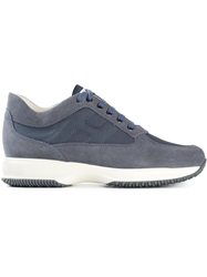 Hogan Lace Up Panel Trainers Blue