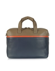 Giorgio Fedon Life File Color Block Leather Briefcase Blue