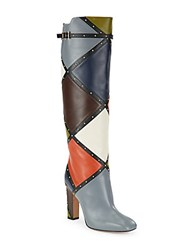 Valentino Leather Patchwork Studded Knee High Boots Blue Multi
