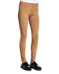 Vince Stretch Suede Zipper Cuff Leggings Khaki