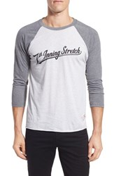Men's 7Th Inning Stretch Logo Graphic Three Quarter Baseball T Shirt Charcoal