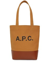 A.P.C. Sm Logo Print Cotton And Leather Tote Bag Camel