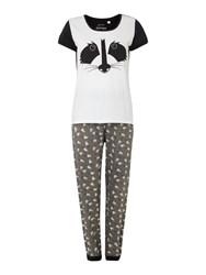 Therapy Racoon Print Mixed Fabric Cuffed Pant And T Shirt Grey