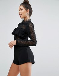 Missguided High Neck Lace Detail Ruffle Playsuit Black