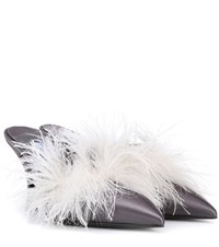 Prada Exclusive To Mytheresa.Com Feather Trimmed Satin Mules Grey