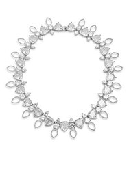 Noir Cubic Zirconia And Crystal Studded Necklace 16In Silver