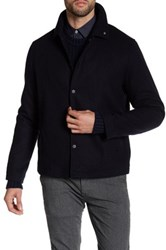 Peter Werth Spread Collar Herringbone Jacket Blue
