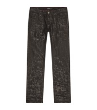 Philipp Plein American Rose Coated Straight Cut Jeans Male Black