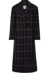 Awake A.W.A.K.E. Double Breasted Checked Wool Blend Coat Navy