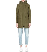 Whistles Cain Hooded Cotton Twill Coat Khaki Olive