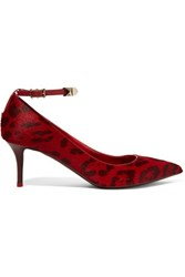 Valentino Leather Trimmed Leopard Print Calf Hair Pumps Claret