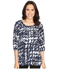 Ellen Tracy Shirred Neck Top Plaid E Navy Women's Clothing