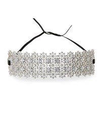 Fallon Monarch Chantilly Leather Xl Choker Necklace With Crystals Clear