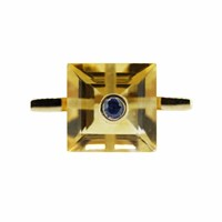Maiko Nagayama Square Citrine And Sapphire Cocktail Ring Red Blue Gold