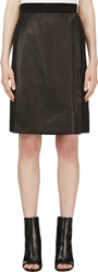 Calvin Klein Black Leather Panel Nousha Wrap Skirt