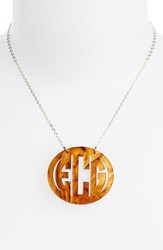 Women's Moon And Lola Large Oval Personalized Monogram Pendant Necklace Tigers Eye Gold Nordstrom Exclusive
