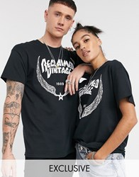 Reclaimed Vintage Unisex Oversized T Shirt With Wings Logo Print Black