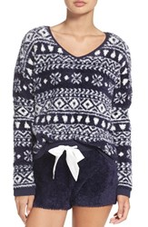 Make Model Women's Fuzzy Lounge Sweater Navy Dusk Cozy Fairisle