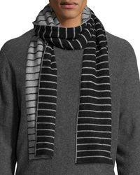 Portolano Minerva Thin Stripe Scarf Black Light Heather Gray