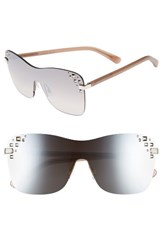 Jimmy Choo Women's Masks 63Mm Rimless Shield Sunglasses Palladium Nude